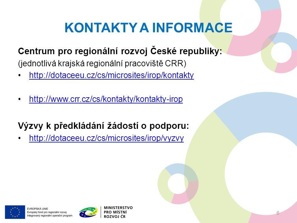 KONTAKTY A INFORMACE Centrum pro regionální rozvoj České republiky: (jednotlivá krajská regionální pracoviště CRR) http://dotaceeu.cz/cs/microsites/irop/kontakty http://www.crr.cz/cs/kontakty/kontakty-irop Výzvy k předkládání žádostí o podporu: http://dotaceeu.cz/cs/microsites/irop/vyzvy 6
