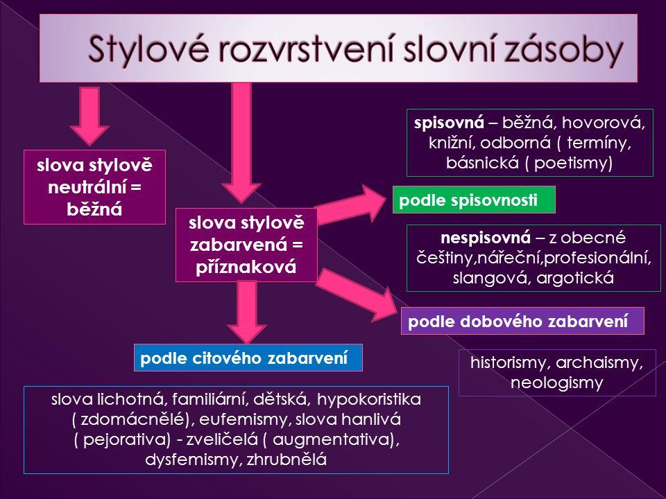 slova stylově neutrální = běžná spisovná – běžná, hovorová, knižní, odborná ( termíny, básnická ( poetismy) podle spisovnosti slova stylově zabarvená