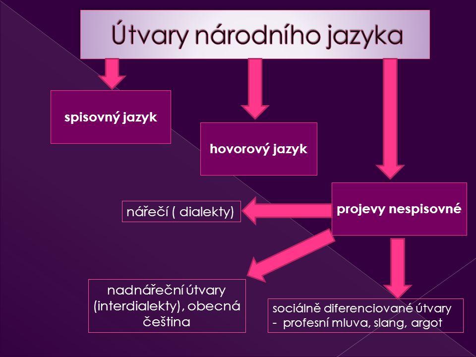 spisovný jazyk hovorový jazyk projevy nespisovné sociálně diferenciované útvary - profesní mluva, slang, argot nářečí ( dialekty) nadnářeční útvary (interdialekty), obecná čeština