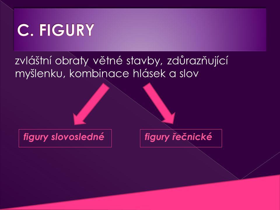 figury slovosledné zvláštní obraty větné stavby, zdůrazňující myšlenku, kombinace hlásek a slov figury řečnické