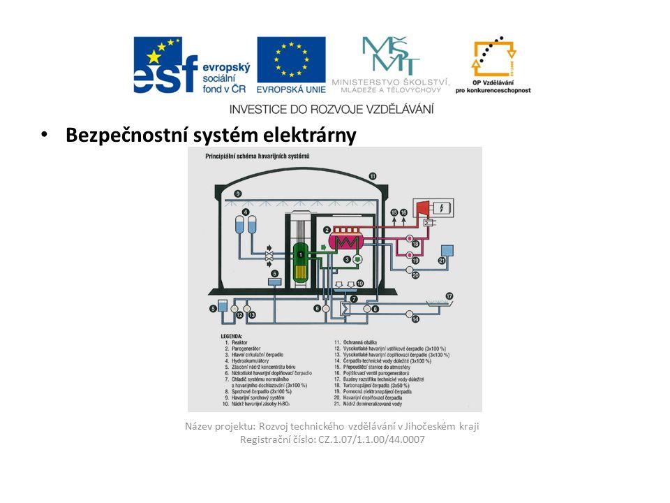 Název projektu: Rozvoj technického vzdělávání v Jihočeském kraji Registrační číslo: CZ.1.07/1.1.00/44.0007 Bezpečnostní systém elektrárny