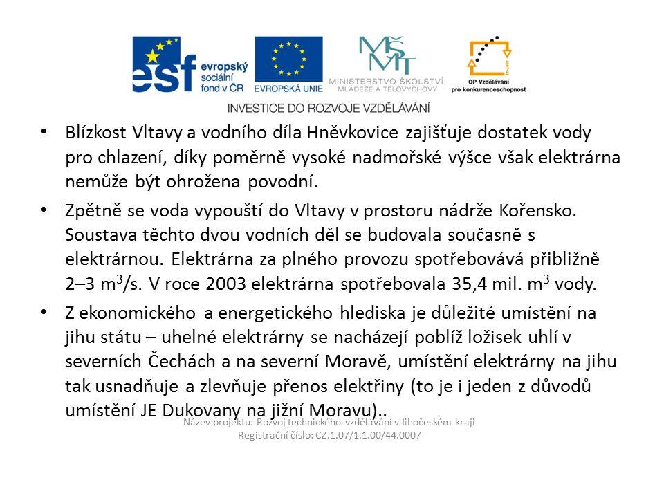 Název projektu: Rozvoj technického vzdělávání v Jihočeském kraji Registrační číslo: CZ.1.07/1.1.00/44.0007 Blízkost Vltavy a vodního díla Hněvkovice z