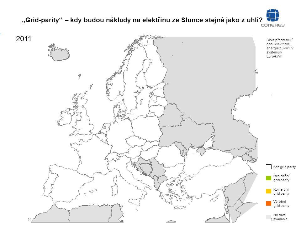 """12 16-09-27 Čísla představují cenu elektrické energie z 5kW FV systemu v Euro/kWh """"Grid-parity"""" – kdy budou náklady na elektřinu ze Slunce stejné jako"""