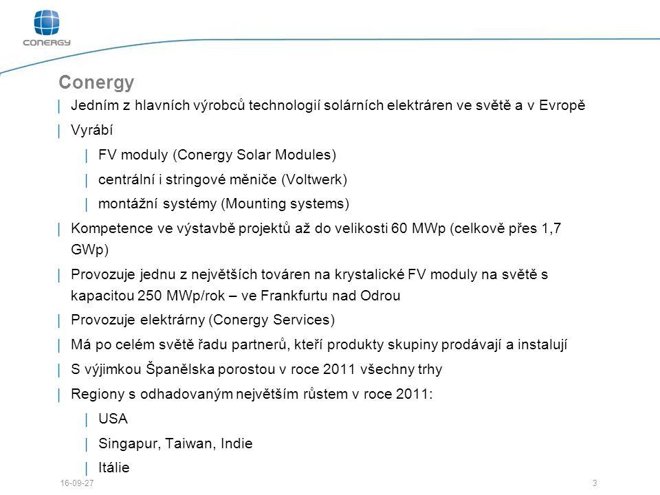 3 16-09-27 Conergy |Jedním z hlavních výrobců technologií solárních elektráren ve světě a v Evropě |Vyrábí |FV moduly (Conergy Solar Modules) |centrální i stringové měniče (Voltwerk) |montážní systémy (Mounting systems) |Kompetence ve výstavbě projektů až do velikosti 60 MWp (celkově přes 1,7 GWp) |Provozuje jednu z největších továren na krystalické FV moduly na světě s kapacitou 250 MWp/rok – ve Frankfurtu nad Odrou |Provozuje elektrárny (Conergy Services) |Má po celém světě řadu partnerů, kteří produkty skupiny prodávají a instalují |S výjimkou Španělska porostou v roce 2011 všechny trhy |Regiony s odhadovaným největším růstem v roce 2011: |USA |Singapur, Taiwan, Indie |Itálie |Společnost byla založena 1998 |Typickými zákazníky Conergy skupiny jsou zákazníci s projekty od 50 kWp výše |Kolem 1800 zaměstnanců na všech kontinentech kromě Antarktidy