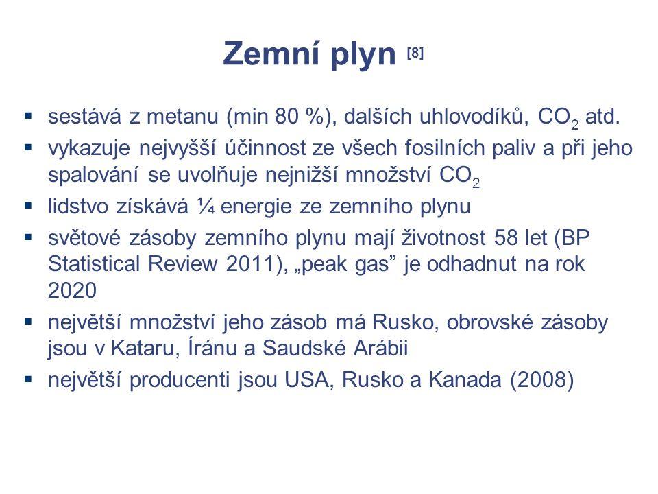Zemní plyn [8]  sestává z metanu (min 80 %), dalších uhlovodíků, CO 2 atd.