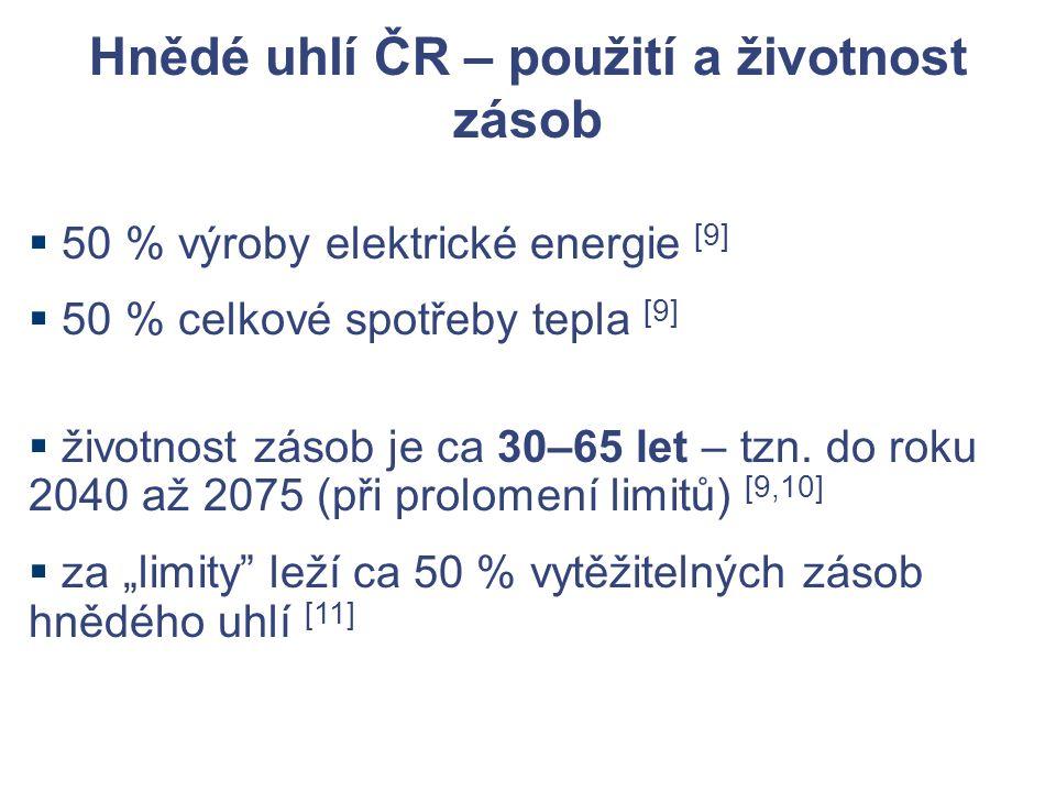 Hnědé uhlí ČR – použití a životnost zásob  50 % výroby elektrické energie [9]  50 % celkové spotřeby tepla [9]  životnost zásob je ca 30–65 let – tzn.