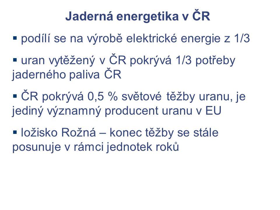 Jaderná energetika v ČR  podílí se na výrobě elektrické energie z 1/3  uran vytěžený v ČR pokrývá 1/3 potřeby jaderného paliva ČR  ČR pokrývá 0,5 % světové těžby uranu, je jediný významný producent uranu v EU  ložisko Rožná – konec těžby se stále posunuje v rámci jednotek roků