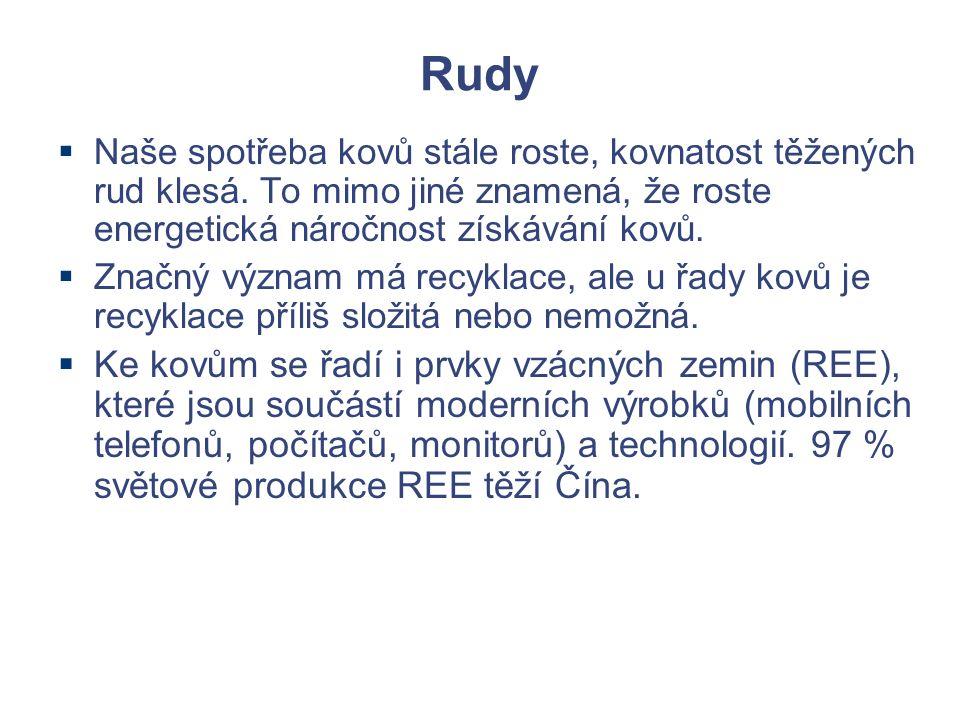 Rudy  Naše spotřeba kovů stále roste, kovnatost těžených rud klesá.
