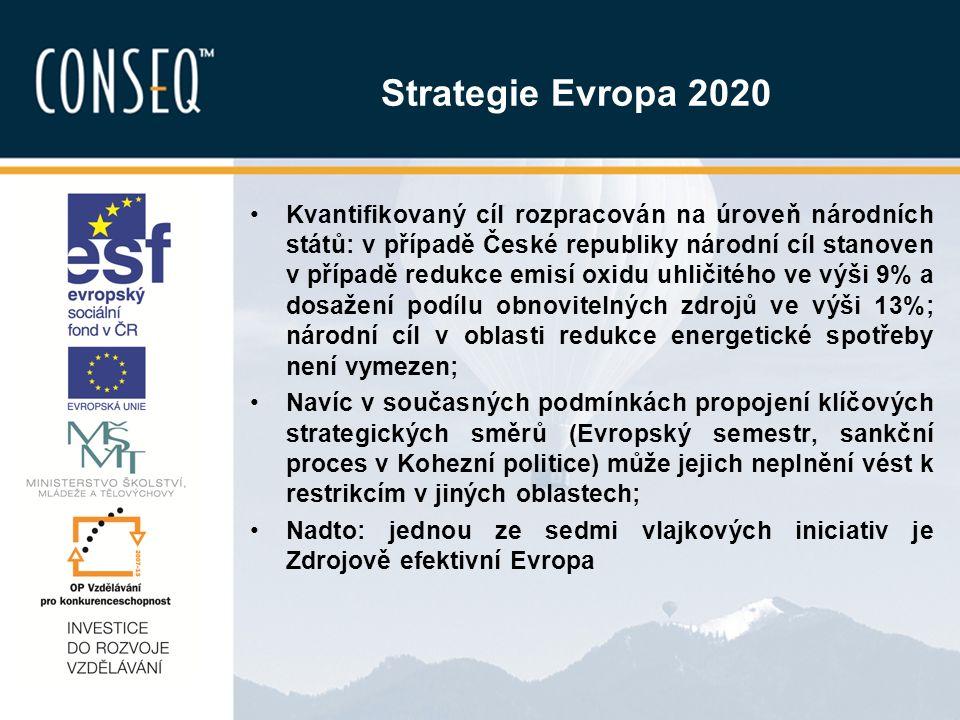 Strategie Evropa 2020 Kvantifikovaný cíl rozpracován na úroveň národních států: v případě České republiky národní cíl stanoven v případě redukce emisí oxidu uhličitého ve výši 9% a dosažení podílu obnovitelných zdrojů ve výši 13%; národní cíl v oblasti redukce energetické spotřeby není vymezen; Navíc v současných podmínkách propojení klíčových strategických směrů (Evropský semestr, sankční proces v Kohezní politice) může jejich neplnění vést k restrikcím v jiných oblastech; Nadto: jednou ze sedmi vlajkových iniciativ je Zdrojově efektivní Evropa