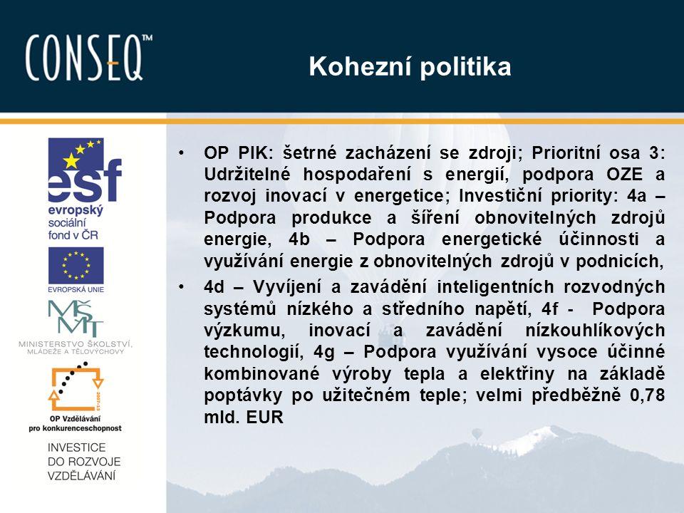 Kohezní politika OP PIK: šetrné zacházení se zdroji; Prioritní osa 3: Udržitelné hospodaření s energií, podpora OZE a rozvoj inovací v energetice; Investiční priority: 4a – Podpora produkce a šíření obnovitelných zdrojů energie, 4b – Podpora energetické účinnosti a využívání energie z obnovitelných zdrojů v podnicích, 4d – Vyvíjení a zavádění inteligentních rozvodných systémů nízkého a středního napětí, 4f - Podpora výzkumu, inovací a zavádění nízkouhlíkových technologií, 4g – Podpora využívání vysoce účinné kombinované výroby tepla a elektřiny na základě poptávky po užitečném teple; velmi předběžně 0,78 mld.