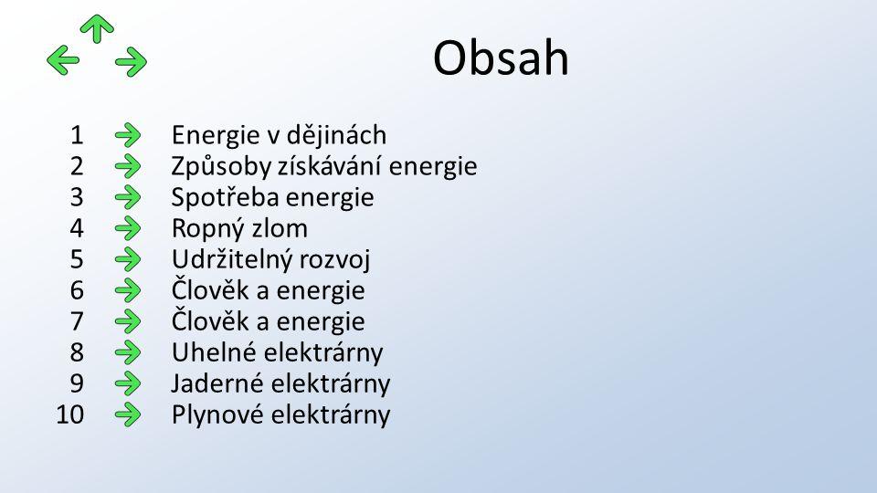 Obsah Energie v dějinách1 Způsoby získávání energie2 Spotřeba energie3 Ropný zlom4 Udržitelný rozvoj5 Člověk a energie6 7 Uhelné elektrárny8 Jaderné elektrárny9 Plynové elektrárny10