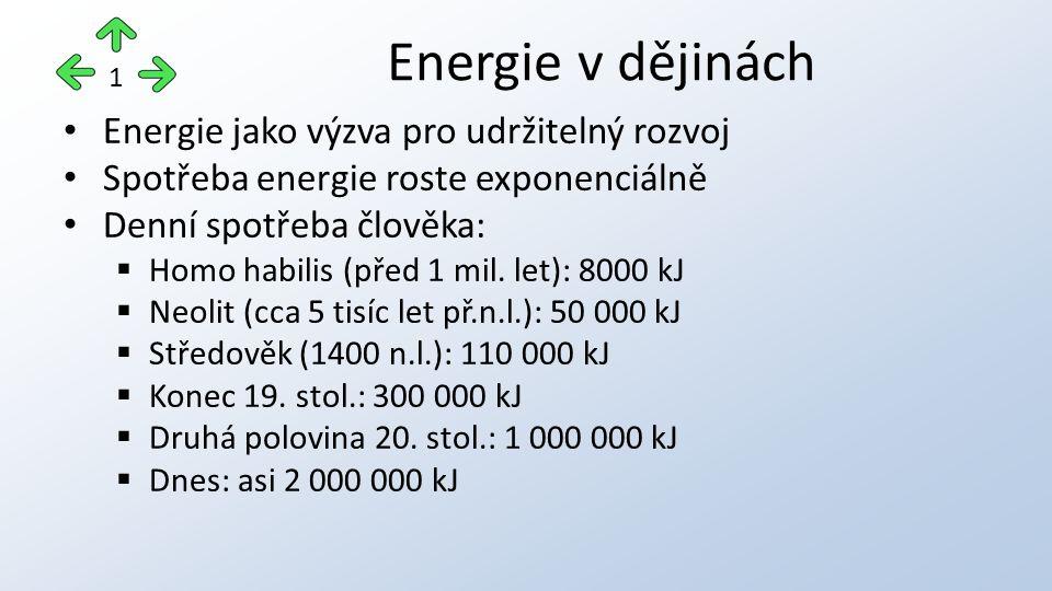Energie jako výzva pro udržitelný rozvoj Spotřeba energie roste exponenciálně Denní spotřeba člověka:  Homo habilis (před 1 mil. let): 8000 kJ  Neol