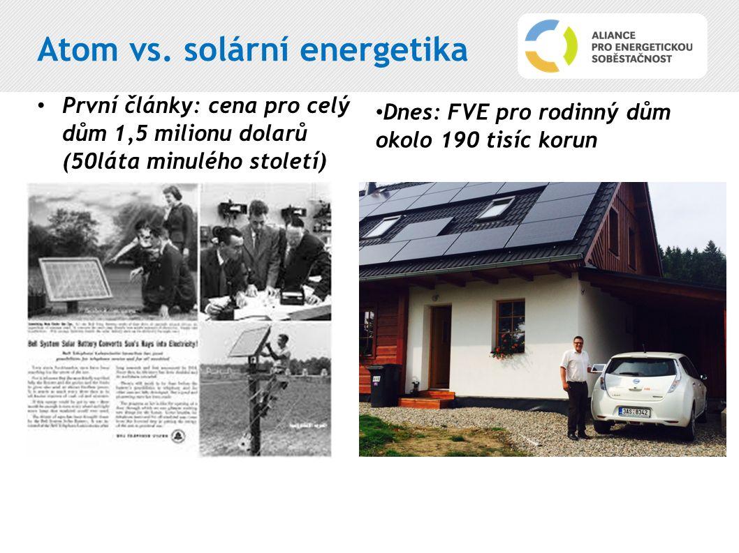 Atom vs. solární energetika První články: cena pro celý dům 1,5 milionu dolarů (50láta minulého století) Dnes: FVE pro rodinný dům okolo 190 tisíc kor
