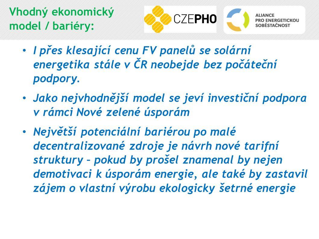 Vhodný ekonomický model / bariéry: I přes klesající cenu FV panelů se solární energetika stále v ČR neobejde bez počáteční podpory. Jako nejvhodnější
