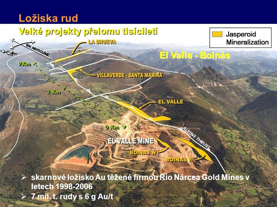 Velké projekty přelomu tisíciletí Ložiska rud El Valle - Boinás  skarnové ložisko Au těžené firmou Rio Nárcea Gold Mines v letech 1998-2006  7 mil.