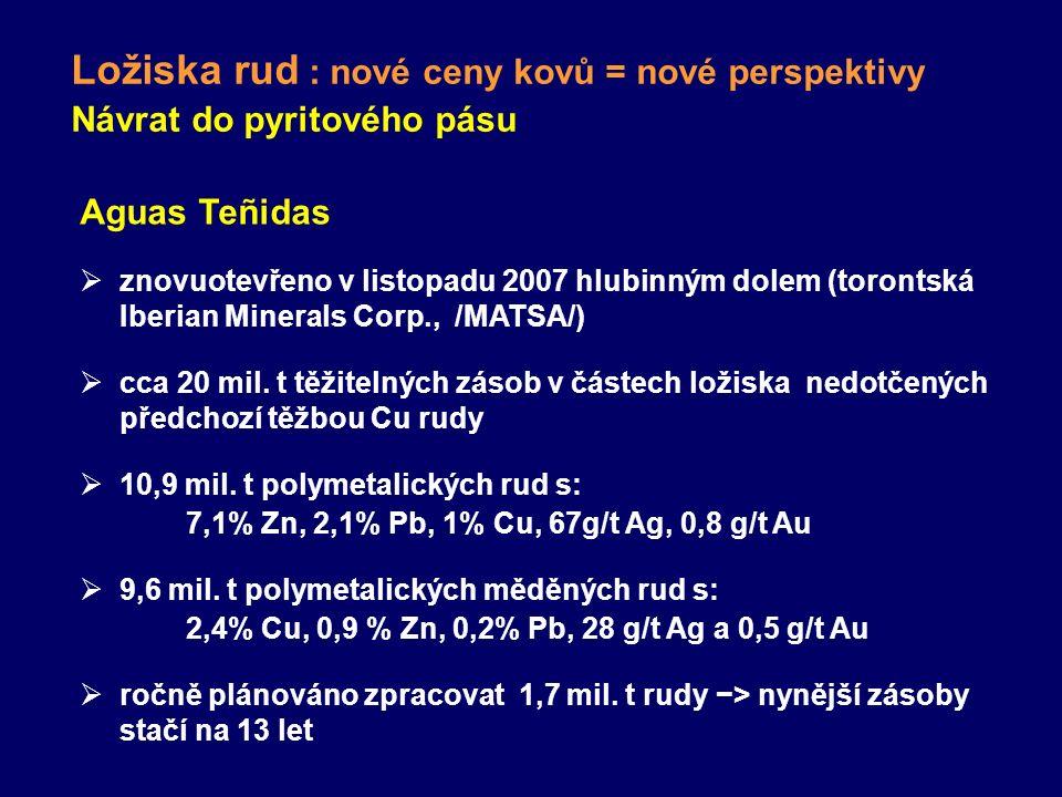 Ložiska rud : nové ceny kovů = nové perspektivy Návrat do pyritového pásu Aguas Teñidas  znovuotevřeno v listopadu 2007 hlubinným dolem (torontská Ib