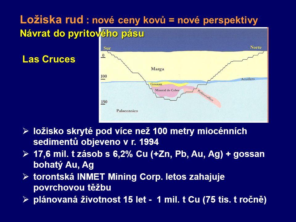 Las Cruces  ložisko skryté pod více než 100 metry miocénních sedimentů objeveno v r. 1994  17,6 mil. t zásob s 6,2% Cu (+Zn, Pb, Au, Ag) + gossan bo