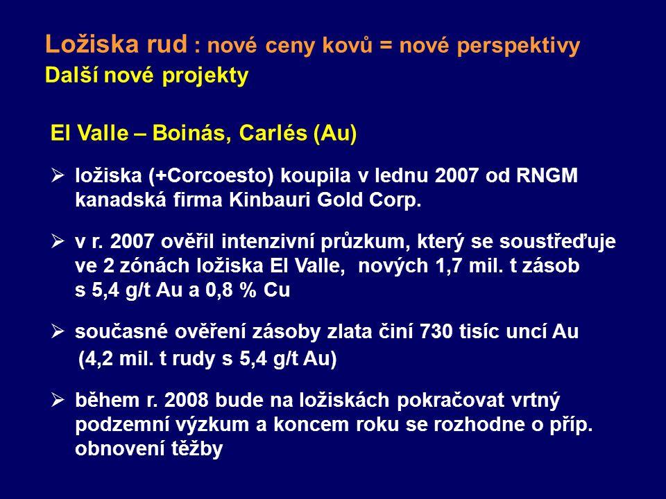 Ložiska rud : nové ceny kovů = nové perspektivy Další nové projekty El Valle – Boinás, Carlés (Au)  ložiska (+Corcoesto) koupila v lednu 2007 od RNGM kanadská firma Kinbauri Gold Corp.