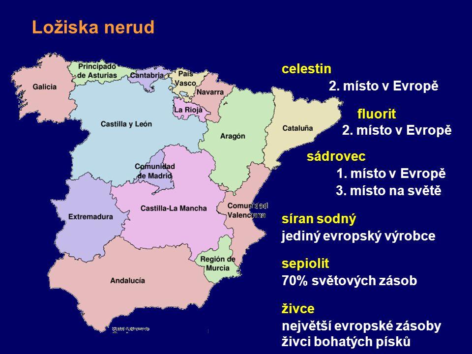 Ložiska nerud celestin 2. místo v Evropě fluorit 2. místo v Evropě sádrovec 1. místo v Evropě 3. místo na světě síran sodný jediný evropský výrobce se