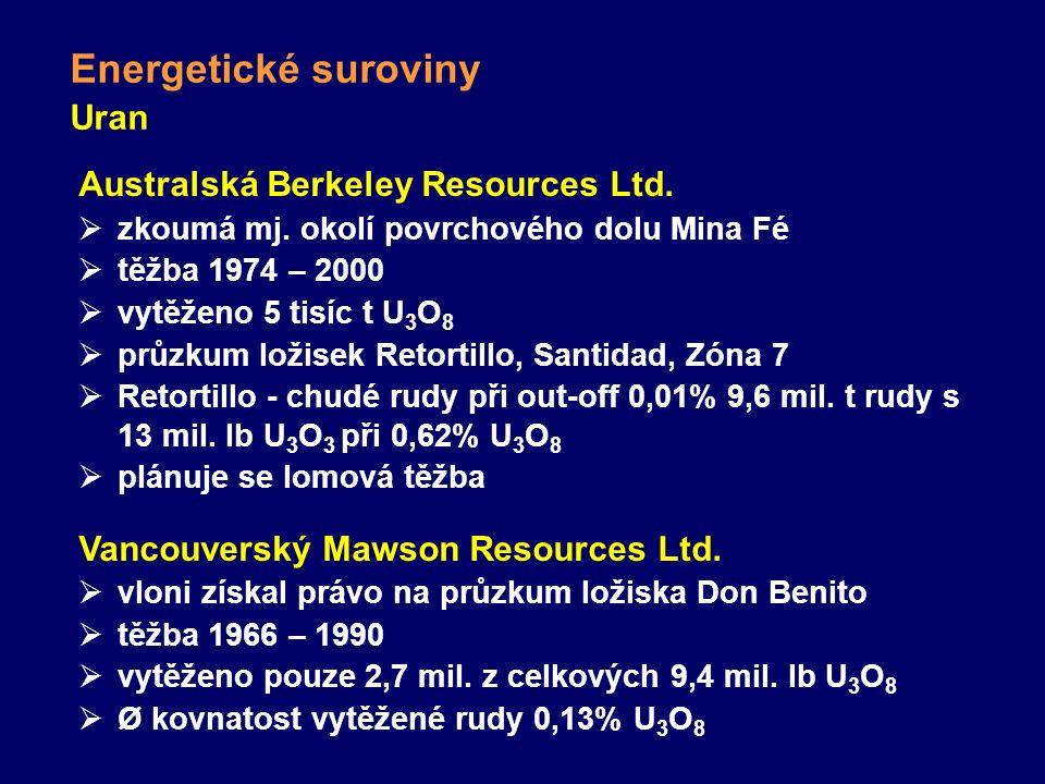 Uran Energetické suroviny Australská Berkeley Resources Ltd.  zkoumá mj. okolí povrchového dolu Mina Fé  těžba 1974 – 2000  vytěženo 5 tisíc t U 3