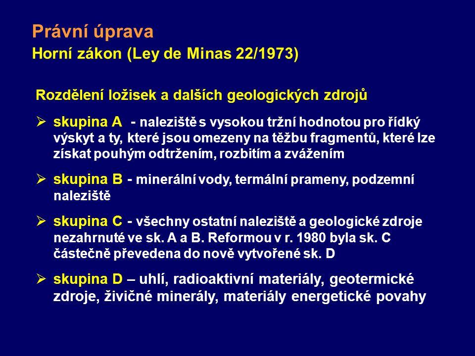 Právní úprava Horní zákon (Ley de Minas 22/1973) Rozdělení ložisek a dalších geologických zdrojů  skupina A- naleziště s vysokou tržní hodnotou pro ř