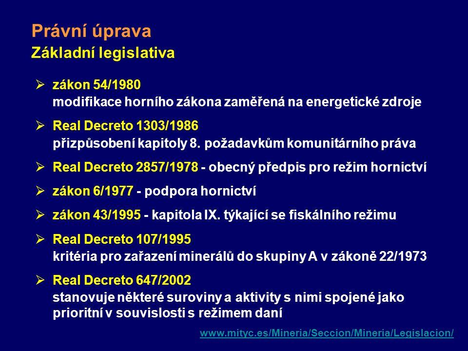Právní úprava Základní legislativa  zákon 54/1980 modifikace horního zákona zaměřená na energetické zdroje  Real Decreto 1303/1986 přizpůsobení kapi