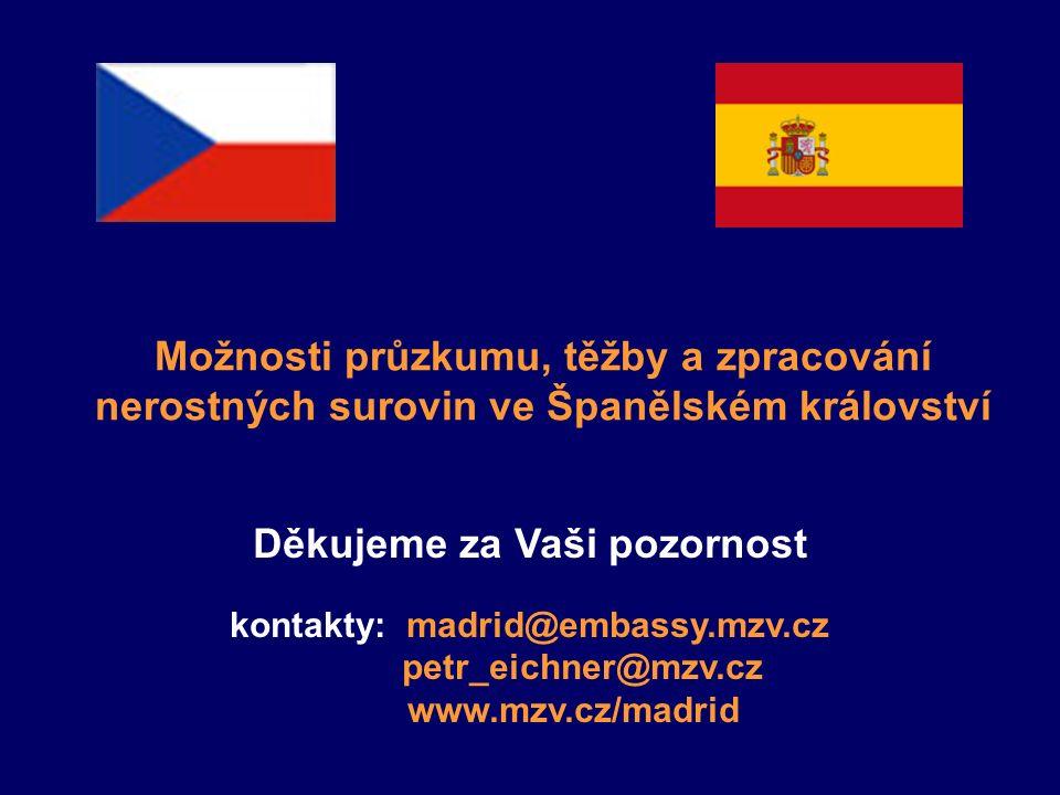 Možnosti průzkumu, těžby a zpracování nerostných surovin ve Španělském království Děkujeme za Vaši pozornost kontakty: madrid@embassy.mzv.cz petr_eich