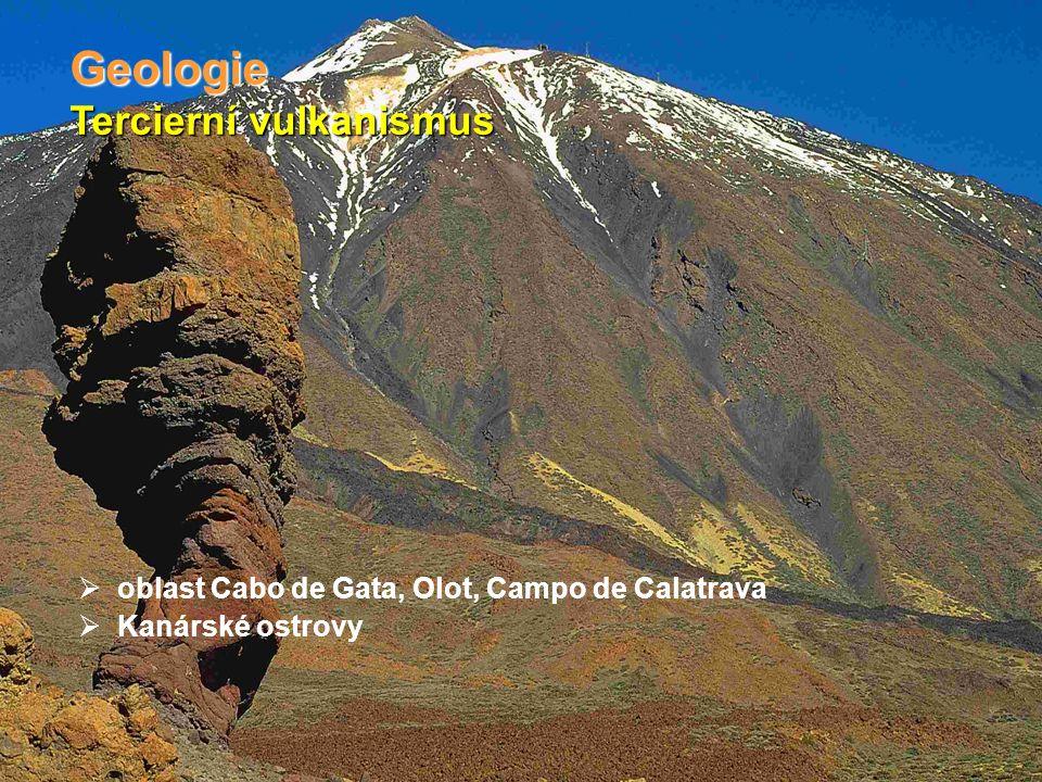 Tercierní vulkanismus Geologie  oblast Cabo de Gata, Olot, Campo de Calatrava  Kanárské ostrovy