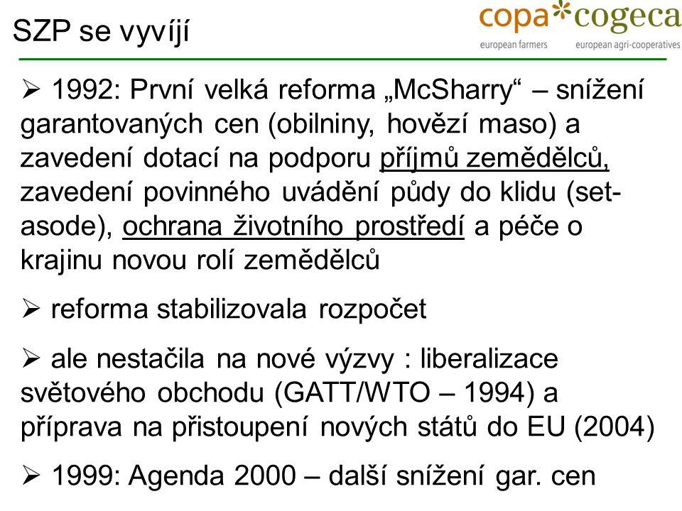 """ 1992: První velká reforma """"McSharry"""" – snížení garantovaných cen (obilniny, hovězí maso) a zavedení dotací na podporu příjmů zemědělců, zavedení pov"""