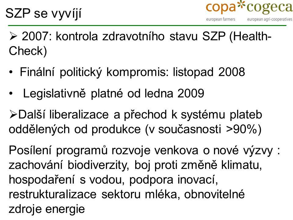 2007: kontrola zdravotního stavu SZP (Health- Check) Finální politický kompromis: listopad 2008 Legislativně platné od ledna 2009  Další liberaliza