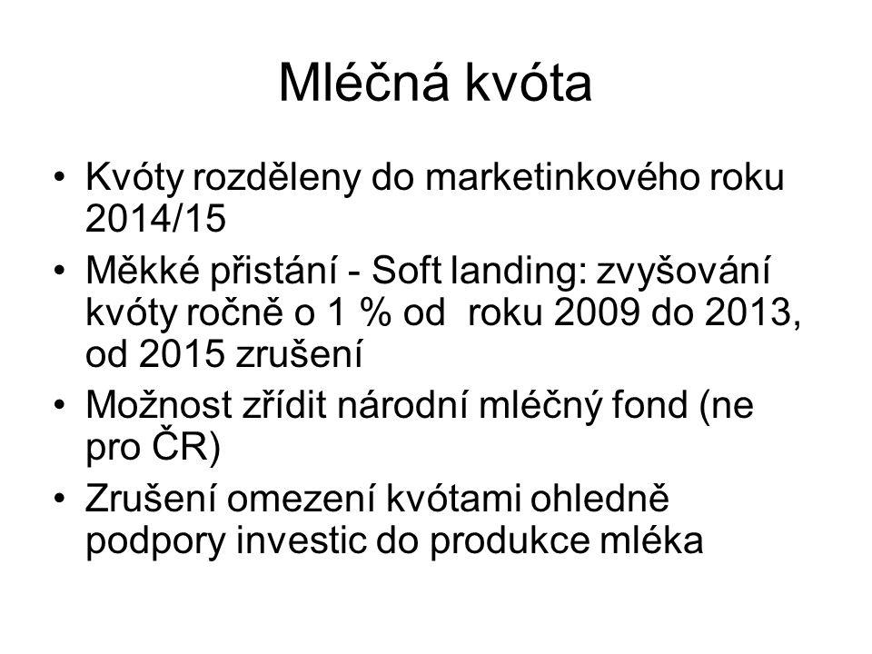 Mléčná kvóta Kvóty rozděleny do marketinkového roku 2014/15 Měkké přistání - Soft landing: zvyšování kvóty ročně o 1 % od roku 2009 do 2013, od 2015 z