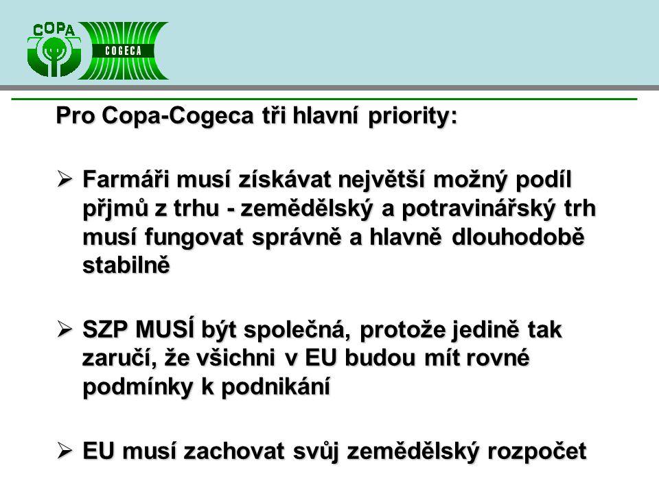 Pro Copa-Cogeca tři hlavní priority:  Farmáři musí získávat největší možný podíl přjmů z trhu - zemědělský a potravinářský trh musí fungovat správně