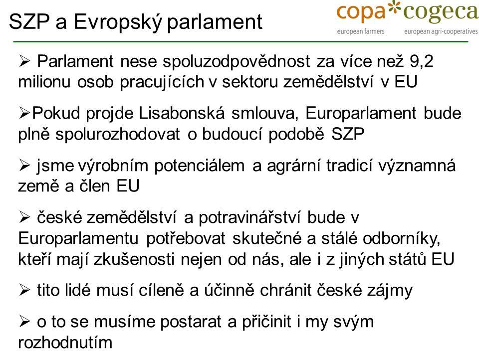  Parlament nese spoluzodpovědnost za více než 9,2 milionu osob pracujících v sektoru zemědělství v EU  Pokud projde Lisabonská smlouva, Europarlamen