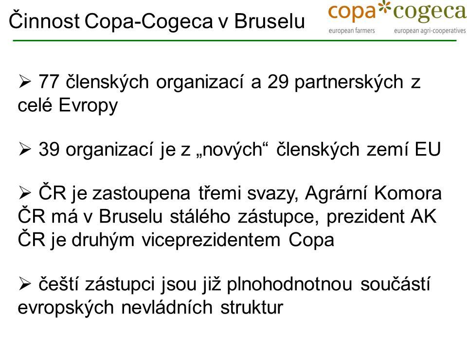  Sekretariát Copa-Cogeca: 50 zaměstnanců, z toho pouze 3 ze zemí střední a východní Evropy  Šest pracovních jazyků : EN, FR, DE, IT, ES, PO  15 profesionálních překladatelů a tlumočníků  50 expertních skupin, které se pravidelně scházejí  Moje specializace : mléko, maso, med, šlechtění a plemenitba a horizontální otázky s tím spojené Činnost Copa-Cogeca v Bruselu