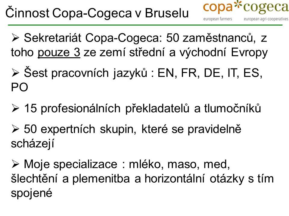  Sekretariát Copa-Cogeca: 50 zaměstnanců, z toho pouze 3 ze zemí střední a východní Evropy  Šest pracovních jazyků : EN, FR, DE, IT, ES, PO  15 pro