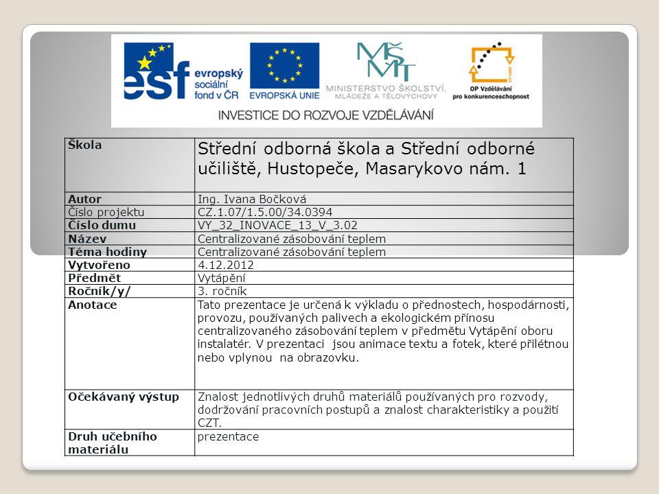 Škola Střední odborná škola a Střední odborné učiliště, Hustopeče, Masarykovo nám.