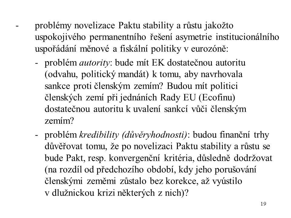 19 - problémy novelizace Paktu stability a růstu jakožto uspokojivého permanentního řešení asymetrie institucionálního uspořádání měnové a fiskální politiky v eurozóně: - problém autority: bude mít EK dostatečnou autoritu (odvahu, politický mandát) k tomu, aby navrhovala sankce proti členským zemím.