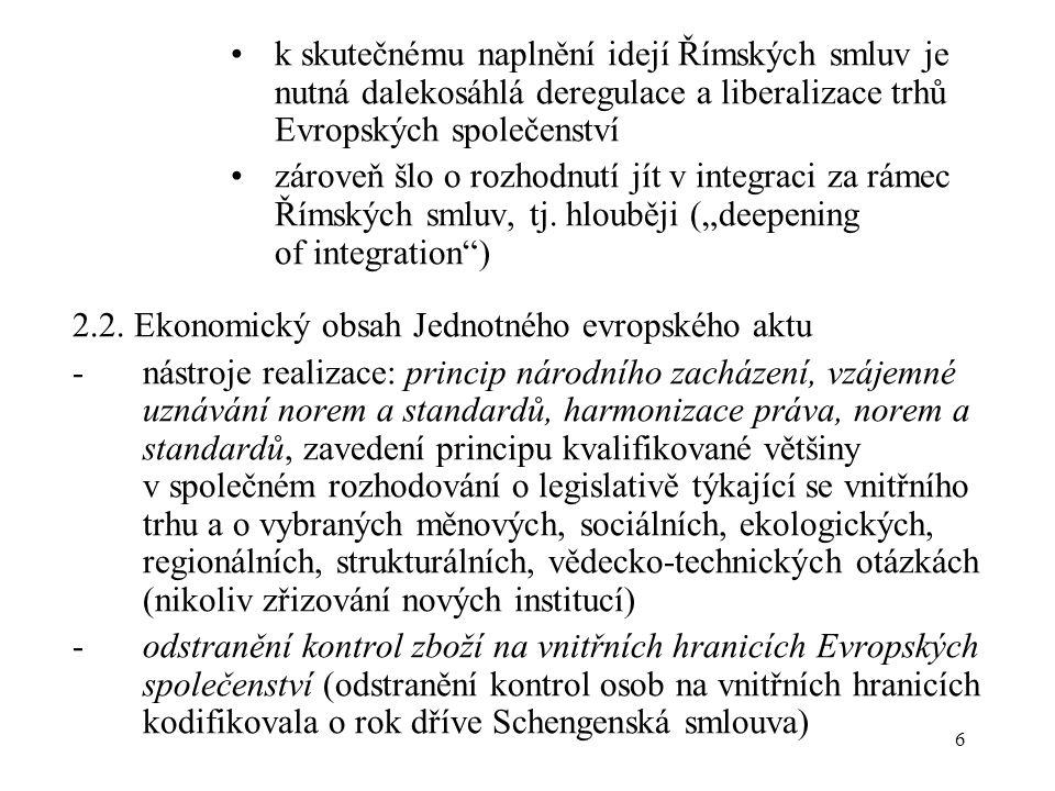 6 k skutečnému naplnění idejí Římských smluv je nutná dalekosáhlá deregulace a liberalizace trhů Evropských společenství zároveň šlo o rozhodnutí jít v integraci za rámec Římských smluv, tj.