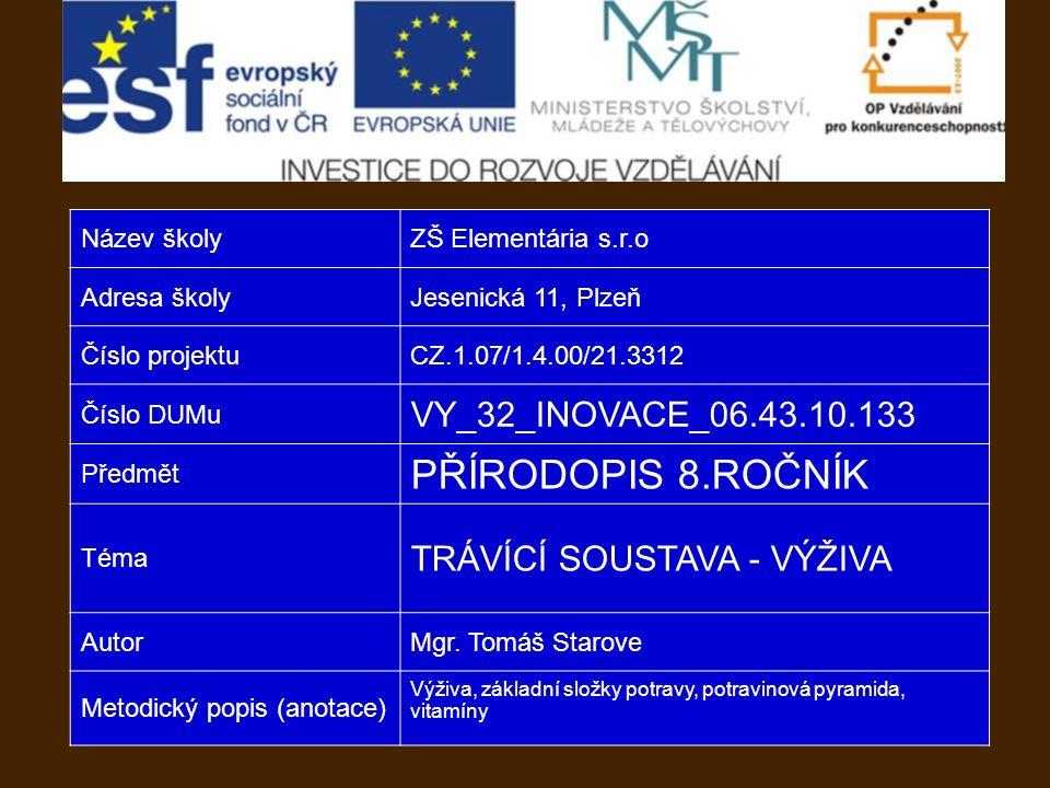 Název školyZŠ Elementária s.r.o Adresa školyJesenická 11, Plzeň Číslo projektuCZ.1.07/1.4.00/21.3312 Číslo DUMu VY_32_INOVACE_06.43.10.133 Předmět PŘÍRODOPIS 8.ROČNÍK Téma TRÁVÍCÍ SOUSTAVA - VÝŽIVA AutorMgr.