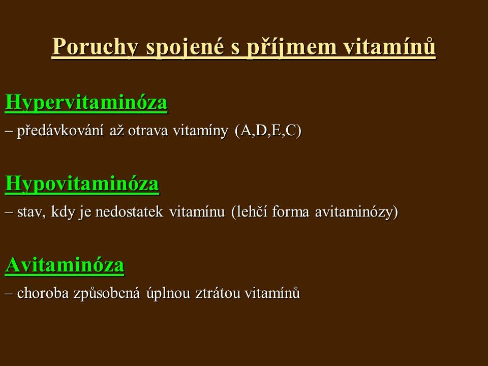 Poruchy spojené s příjmem vitamínů Hypervitaminóza – předávkování až otrava vitamíny (A,D,E,C) Hypovitaminóza – stav, kdy je nedostatek vitamínu (lehčí forma avitaminózy) Avitaminóza – choroba způsobená úplnou ztrátou vitamínů