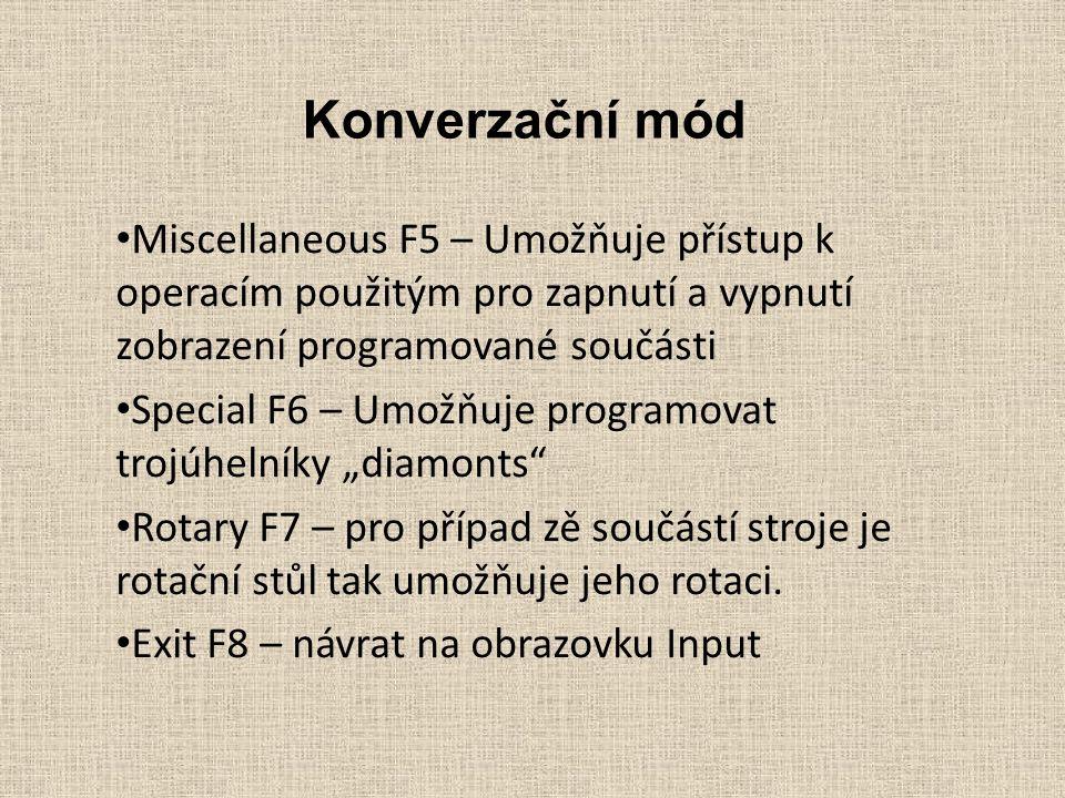 Konverzační mód Miscellaneous F5 – Umožňuje přístup k operacím použitým pro zapnutí a vypnutí zobrazení programované součásti Special F6 – Umožňuje pr