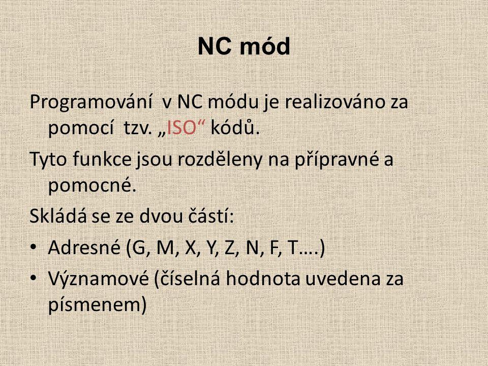 """NC mód Programování v NC módu je realizováno za pomocí tzv. """"ISO"""" kódů. Tyto funkce jsou rozděleny na přípravné a pomocné. Skládá se ze dvou částí: Ad"""