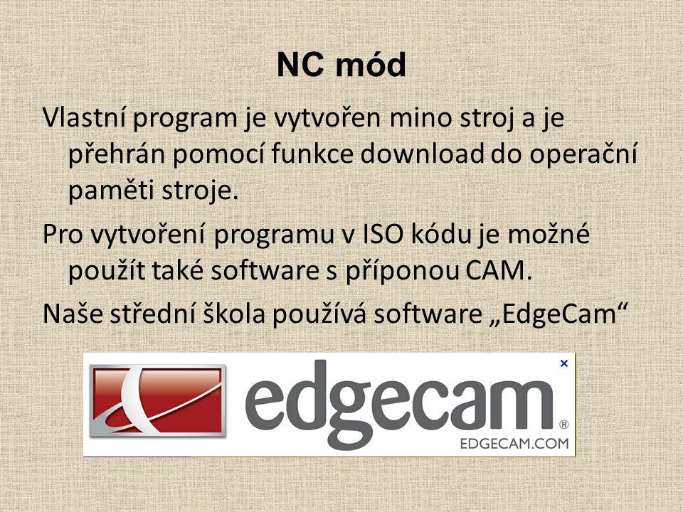 NC mód Vlastní program je vytvořen mino stroj a je přehrán pomocí funkce download do operační paměti stroje.