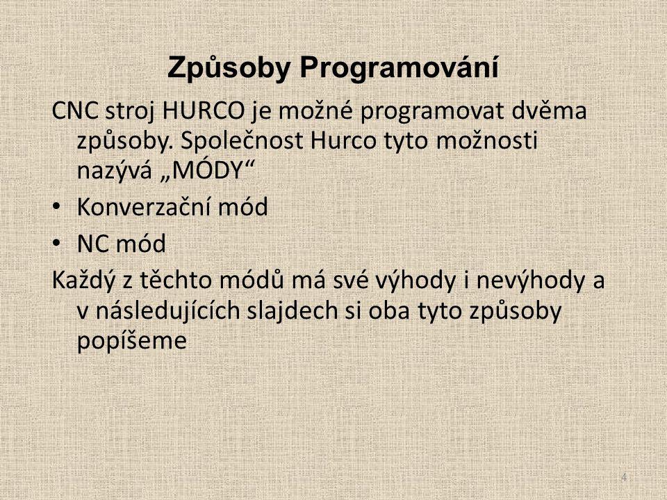 """Způsoby Programování CNC stroj HURCO je možné programovat dvěma způsoby. Společnost Hurco tyto možnosti nazývá """"MÓDY"""" Konverzační mód NC mód Každý z t"""
