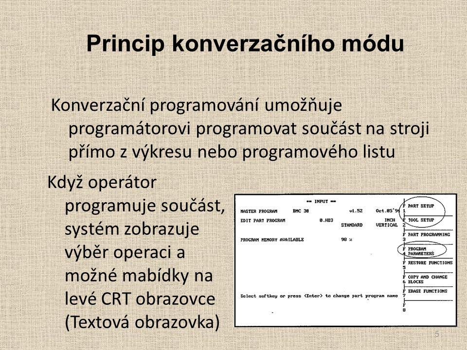 Princip konverzačního módu Konverzační programování umožňuje programátorovi programovat součást na stroji přímo z výkresu nebo programového listu 5 Když operátor programuje součást, systém zobrazuje výběr operaci a možné mabídky na levé CRT obrazovce (Textová obrazovka)