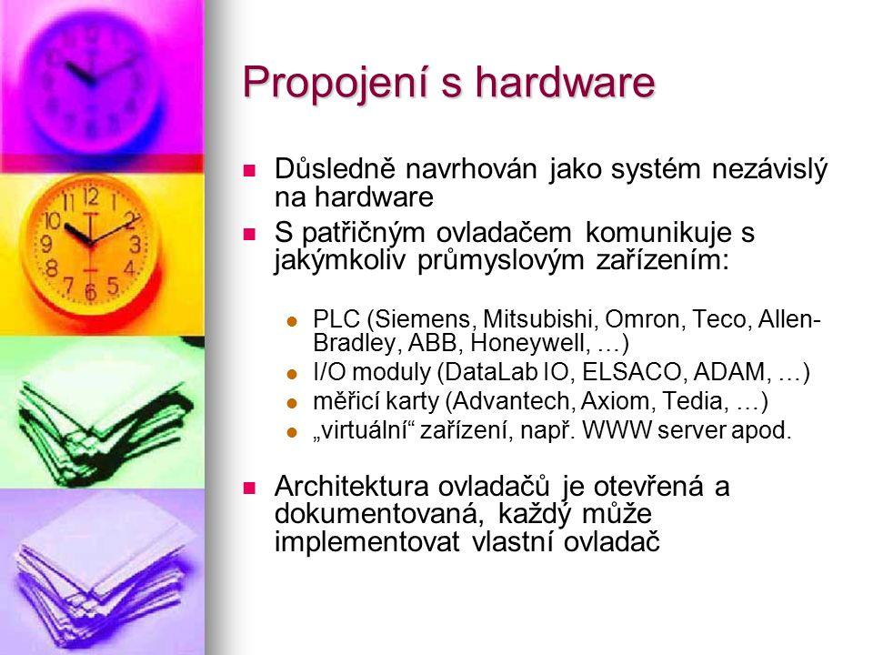Propojení s hardware Důsledně navrhován jako systém nezávislý na hardware S patřičným ovladačem komunikuje s jakýmkoliv průmyslovým zařízením: PLC (Si