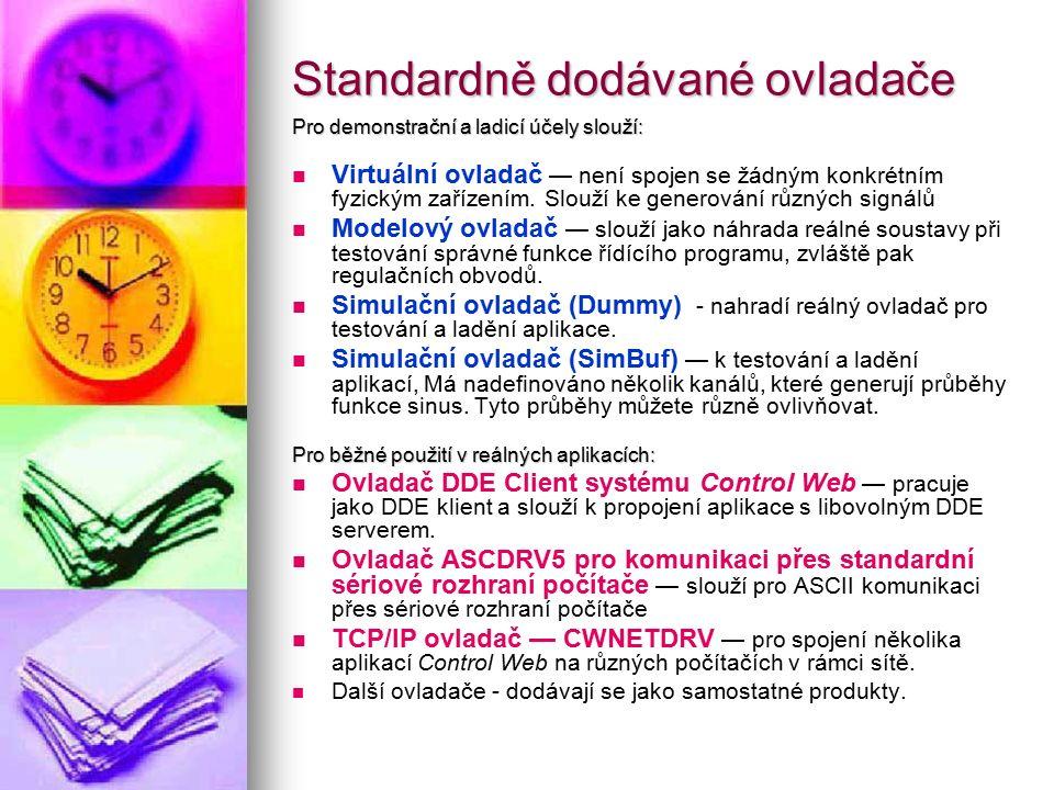 Standardně dodávané ovladače Pro demonstrační a ladicí účely slouží: Virtuální ovladač — není spojen se žádným konkrétním fyzickým zařízením. Slouží k