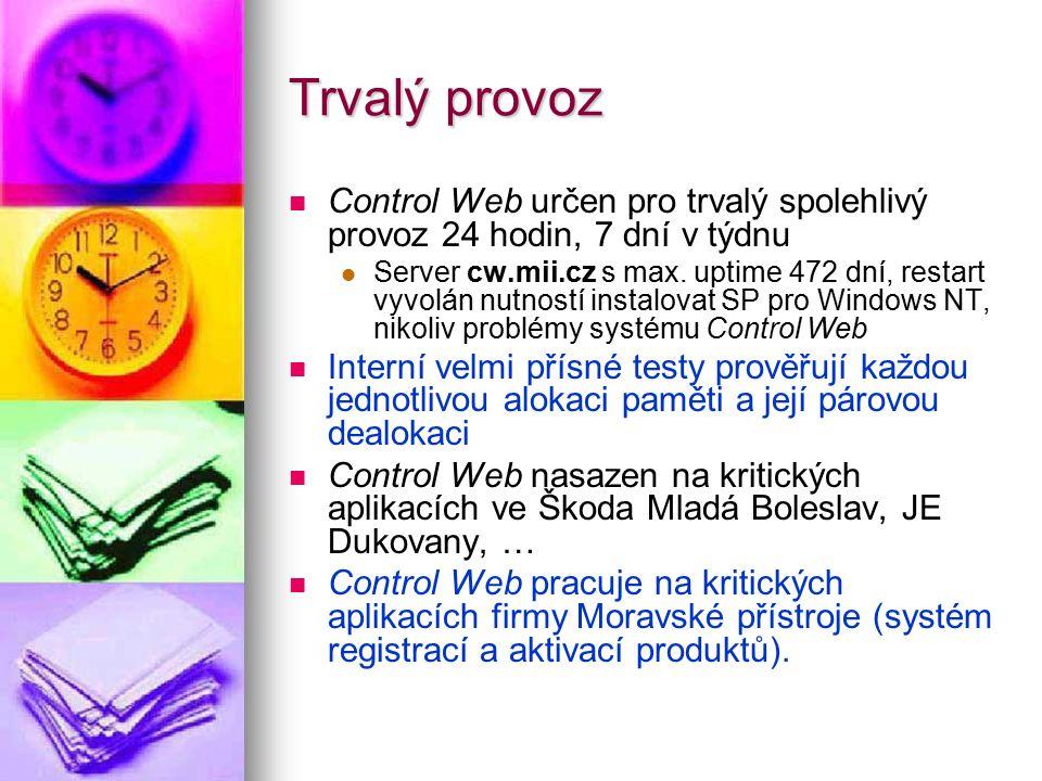 Trvalý provoz Control Web určen pro trvalý spolehlivý provoz 24 hodin, 7 dní v týdnu Server cw.mii.cz s max. uptime 472 dní, restart vyvolán nutností