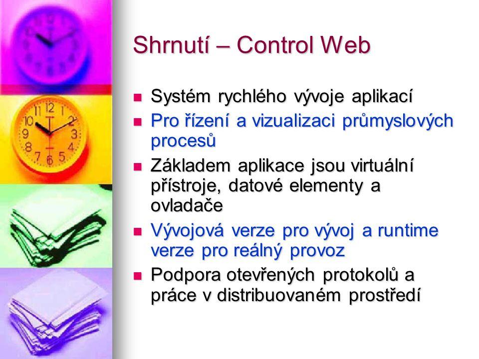 Shrnutí – Control Web Systém rychlého vývoje aplikací Systém rychlého vývoje aplikací Pro řízení a vizualizaci průmyslových procesů Pro řízení a vizua