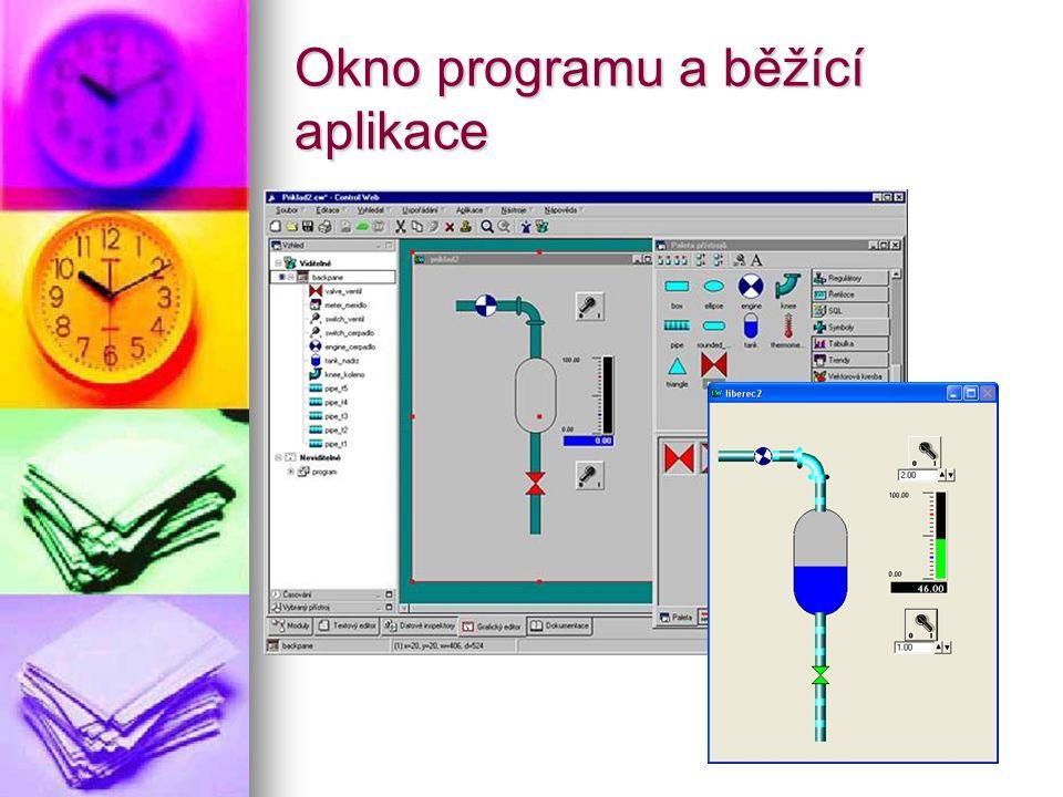 Okno programu a běžící aplikace